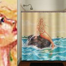golden sea siren art nude mermaid shower curtain  bathroom