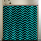 turquoise aqua chevron shower curtain  bathroom     window cur