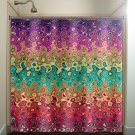 abstract multi color rainbow wave colorful shower curtain  bathroom