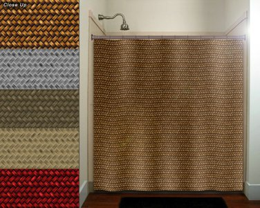 natural basket weave shower curtain  bathroom     window curta