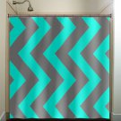 aqua blue gray vertical chevron turquoise shower curtain  bathroom   k