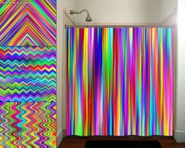 colorful rainbow multicolor chevron stripe shower curtain  bathroom