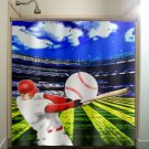 ball hitter bat player stadium baseball shower curtain  bathroom   kid