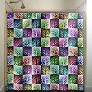 colorful mosaic wall tile trees shower curtain  bathroom     w
