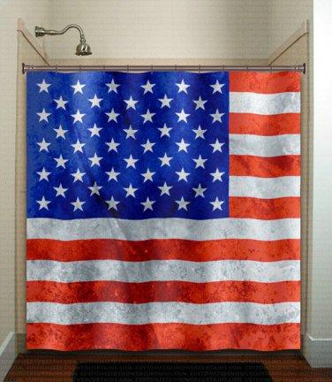 America United States USA flag shower curtain  bathroom     wi