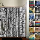trunk forest white birch trees shower curtain  bathroom     wi