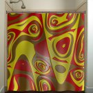 red brown yellow abstract shower curtain  bathroom     window