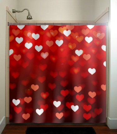valentines day romantic love hearts red shower curtain  bathroom   kid