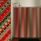 Red Gold Black Golden Asian Batik shower curtain  bathroom