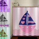 heart boat boy children kid girl nautical shower curtain  bathroom   k
