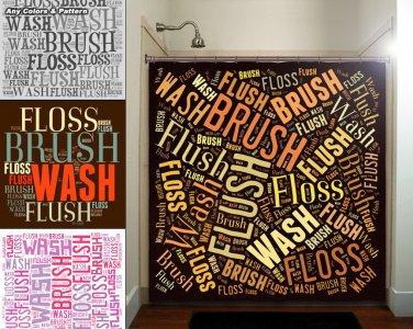 Flush Floss Brush Wash Bathbathroom Rules Shower Curtain  bathroom   kids