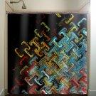 steampunk multi color black blue beautiful shower curtain  bathroom