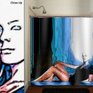 lonely woman sanctuary girl shower curtain  bathroom     windo