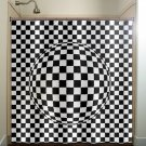 zen optical illusion geometric checkered shower curtain  bathroom   ki