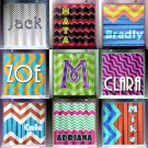 personalized Name Initial chevron shower curtain  bathroom