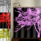 pink tree black shower curtain  bathroom     window curtains p