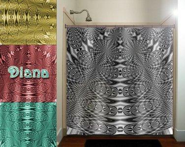 steampunk fractal peacock electric metal shower curtain  bathroom   ki