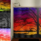 colorful sunset sky trees shower curtain  bathroom     window