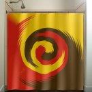 mustard red brown swirl shower curtain  bathroom     window cu