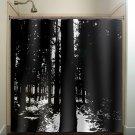 dark woods black forest trees shower curtain  bathroom     win