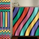Multi Color Wave Stripe Chevron Shower Curtain  bathroom     w