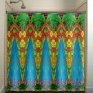 tropical waterfall flower lush jungle shower curtain  bathroom   kids
