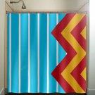 large blue stripe yellow red giant chevron shower curtain  bathroom