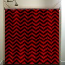 classic black red chevron shower curtain  bathroom     window