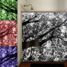 color gray leaves branch blossom leaf tree shower curtain  bathroom