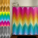 multi color ikat rainbow colorful chevron shower curtain  bathroom   k