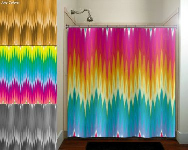 multi color ikat rainbow colorful chevron shower curtain  bathroom   k