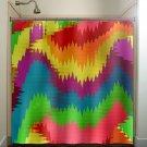 rainbow colorful ikat wave chevron shower curtain  bathroom   kids bat