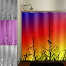 grass branch rainbow sunset bird shower curtain  bathroom