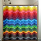 rainbow chevron shower curtain  bathroom     window curtains p