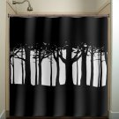 tree woods forest shower curtain  bathroom     window curtains
