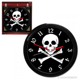 Skull and Cross Bones Black and White Pirate Clock