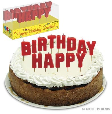 """""""HAPPY BIRTHDAY"""" Letter Candles on Wooden Picks"""