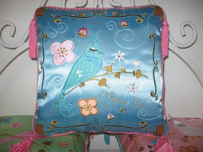 Beautiful Blue Silk Embroidered Bird Pillow