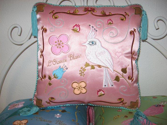 Beautiful Pink Silk Embroidered Bird Pillow