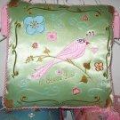 Beautiful Green Silk Embroidered Bird Pillow