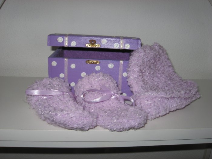 Purple Knit Baby Hat and Booty Set in Hand Painted Box