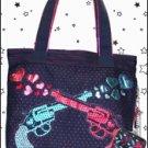 Pistol Packin' Tote Bag, Guns and Foil Heart Print