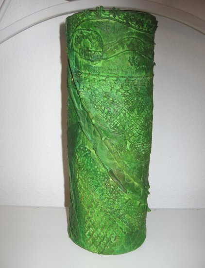 Hand Dyed Lace and Fabric Wrapped Glass Vase