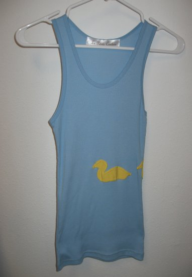 Blue Tank Top with Hand Stitched Ducks Front and Back, Size Small