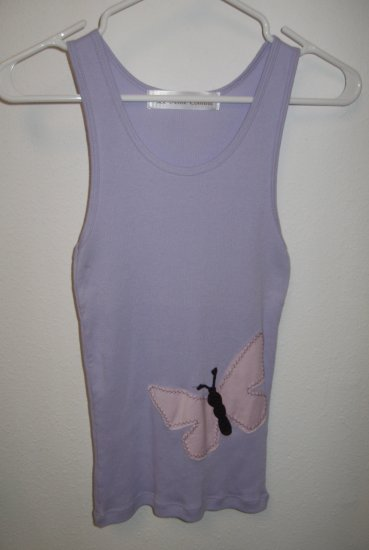 Purple Tank Top with Hand Stitched Butterfly, Size Small
