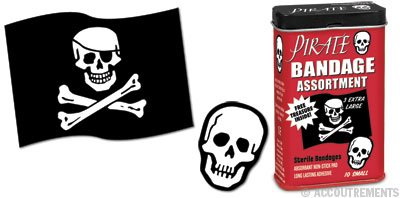 Assorted Pirate Print Bandaids, Collectible Tine, Free Toy Inside