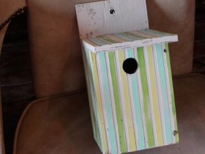 Green, Blue, Yellow, and White Stripped Birdhouse