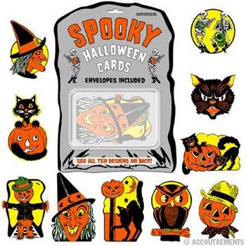 Retro Print Halloween Card Set