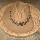 Vintage Safari Hat, Tan Felt, Cheetah Print Rim