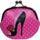 Large Black Pin Up Shoe Coin Purse